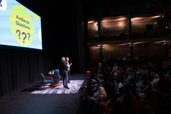 Answering audience questions at our show in Charlotte, NC